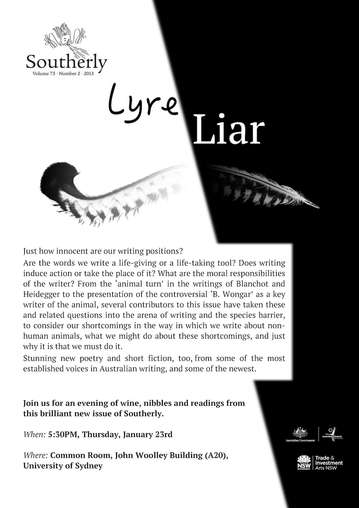 Lyre/Liar launch – please come!