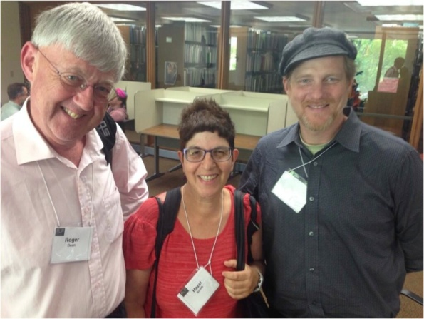 Roger Dean (left) and Will Luers (right) with me at the Electronic Literature Organisation Conference and Media Arts Show, the University of Wisconsin-Milwaukee, USA, June 2014.  Photo: Kathi Inman Berens, who also curated the show.